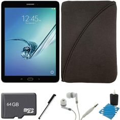 Samsung Galaxy Tab S2 9.7-inch Wi-Fi Tablet (Black/32GB) SM-T810NZKEXAR 64GB MicroSD Card Bundle includes Galaxy Tab S2, 64GB MicroSD Card, Stylus Stylus Pen, Protective Tablet Sleeve. Samsung Galaxy Tab S2. 64GB MicroSD Memory Card. Stylus Pen with Pocket Clip. Noise Isolation Headphones. Protective Neoprene Tablet Sleeve, 3 Piece Lens Cleaning Kit.