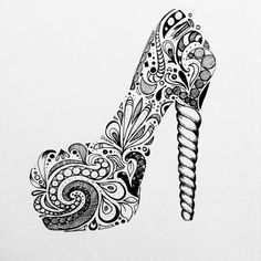 Zentangles shoe pump high heels swirl black and white ink pattern