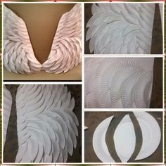 DIY angel wings made with paper plates and a hot glue gun. Did some shading with., DIY angel wings made with paper plates and a hot glue gun. Did some shading with silver paint around the edges. Diy Angel Wings, Diy Wings, Diy Glue, Glue Gun Crafts, Fun Crafts, Diy And Crafts, Diy Angels, Maleficent Costume, Fantasias Halloween