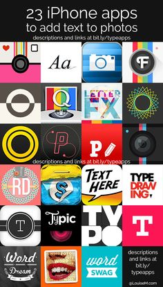 Ultimate List! 23 iPhone Apps to Add Text to Photos http://louisem.com/18983/iphone-apps-to-add-text-to-photos