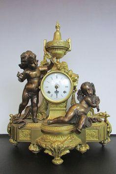 Vintage Imperial Italian Brevettato Mantle Garniture Clock Cherubs Bronze Brass  #Italian #Brevettato