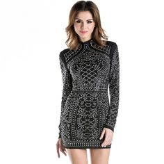 Sexy Geometric retro Rhinestone high-necked long-sleeved bodycon tight dress party dress Just look, that`s outstanding! Visit us Tight Long Sleeve Dress, Bodycon Dress With Sleeves, Tight Dresses, Sleeved Dress, Dress Long, Sexy Dresses, Dress Outfits, Lace Dresses, Sexy Outfits