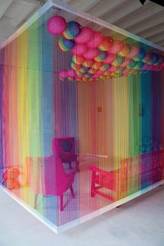 the 'rainbow room' installation by cape town-based designer pierre le riche. the intervention, built from 17km of acrylic thread in colours of the gay pride flag, represents a traditional afrikaan family living room in the midst of the 1995 rugby world cup final match displayed on a television; an incredibly significant point in south african history, and perhaps the last chance the afrikaner male had to 'prove his superiority'.