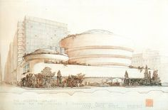Frank Lloyd Wright's architectural color sketch of Guggenheim New York #architecture #flw