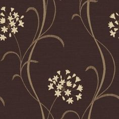 Mia Chocolate (599708) - Arthouse Wallpapers - A pretty stylised agapanthus lily flower vertical trail. Drawn here in cream on a dark chocolate brown light weave textured background. Please ask for sample for true colour match.