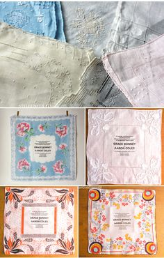 vintage handkerchief invitations   ohmgee.  patty and hayley.  @Hilary Keller @Patty Meyers