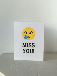 Miss You die cut greeting card crying sad emoji funny going away farewell party co-worker