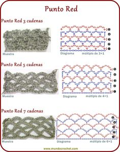 Punto red o malla crochet Crochet Stitches Chart, Crochet Symbols, Crochet Diagram, Crochet Basics, Crochet For Beginners, Crochet Motif, Stitch Crochet, Punto Red Crochet, Crochet Wool