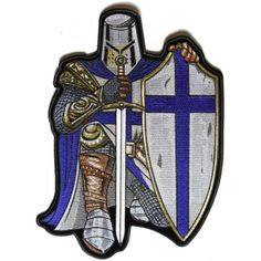 e2c36b4132e Blue Crusader Knight Large Back Patch - 8.9x12 inch Motorcycle Patches