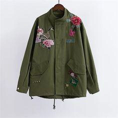 Autumn winter Peacock peony embroidery loose A word version coat jacket Army green