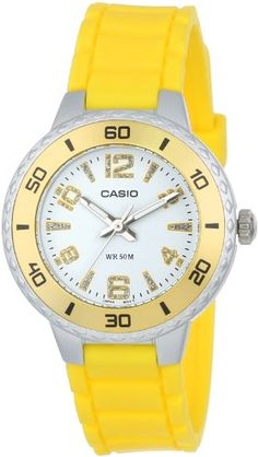 Casio Women's LTP1331-9AV Sport Gold-Tone Bezel and Yellow Resin Strap Watch