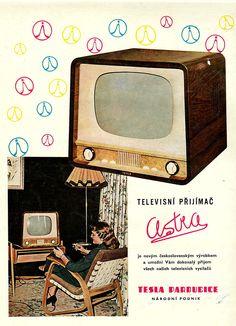 Made in Czechoslovakia,Tesla comp. Poster City, Poster Ads, Vintage Advertisements, Vintage Ads, Carnivals, European Countries, Communism, World's Fair, Amusement Parks