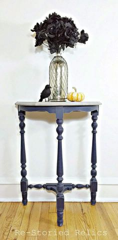 Devilishly adorable accent table with GF Coastal Blue layered over gray topped with High Performance Topcoat in flat. Ashley Furniture Sofas, Cane Furniture, Coastal Furniture, Furniture Legs, Furniture Sale, Furniture Makeover, Painted Furniture, Furniture Design, Blue Side Table