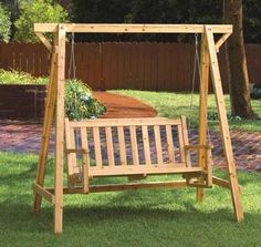 Pine Wood Garden Swing On Freestanding Frame