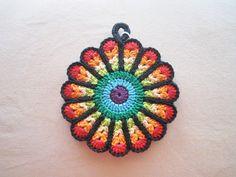 B) Crocheted Flower Potholder