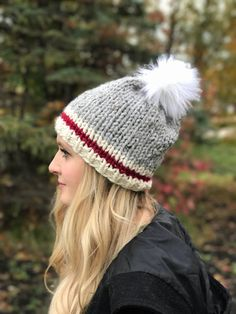 Grey Hat with Red Stripe and White Faux Fur Pom Pom // Sock / Regular Sock Monkey Hat with White Fur Pom Pom / Winter Style Inspo / Winter Fashion Inspo / Womens Winterwear / Knitwear / Chunky Knit Hat / Chunky Knitted Hat / Winter Style Inspo Inspiration Sock Monkey Hat, Knitted Hats, Crochet Hats, Grey Hat, Crochet Wool, Pamela, Owl Hat, Faux Fur Pom Pom, Winter White