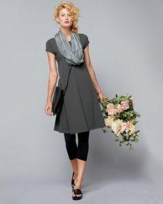 Women's Eileen Fisher Organic Cotton Ballet-Neck Knit Dress