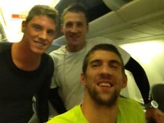 Conor Dwyer, Ryan Lochte, and Michael Phelps on the plane to #London.