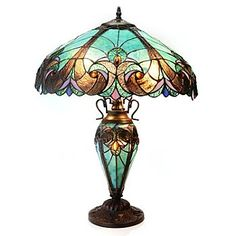 "Tiffany-Style 24.5"" Halston Double Lit Stained Glass Table Lamp  (really like in ""spice"" color)"