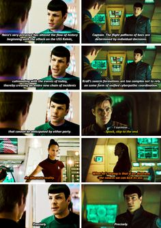 Star Trek & Star Trek Beyond | Spock & Uhura (she speaks his language.. which is quite appropriate, given she's a linguist specialist ^_^ )