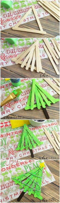 Popsicle Christmas Tree Craft Christmas Crafts For Kids To Make, Felt Christmas Decorations, Christmas Tree Crafts, Preschool Christmas, Toddler Christmas, Christmas Activities, Simple Christmas, Christmas Projects, Holiday Crafts