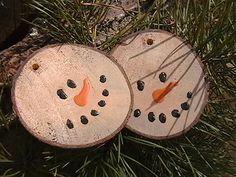Primitive Snowman Twin Ornament Kit Natural Wood Gift Tag Embellishment woodland tree bark