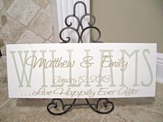 Family Name Personalized for wedding gift, Bride & Groom or New Couple - Engagement Gift. - Wedding Signs on Etsy, $34.95