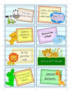 DIGITAL lunchbox notes.  Jungle pack.  Great encouragement for your children.  Lunch box