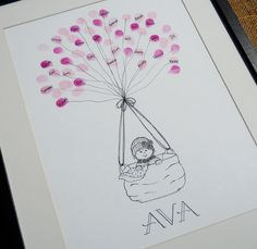 Girls Baby Shower Thumbprint Guest Book- Perfect Shower Gift. $50.00, via Etsy.
