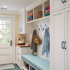Turquoise Floor Tiles, Cottage, Laundry Room, Dearborn Builders