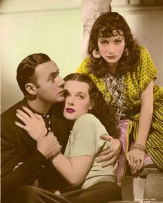 """Charles Boyer, Hedy Lamarr and Sigrid Gurie in ALGIERS This is a vintage """"colorized"""" photo of a black and white original. Old Hollywood Movies, Hollywood Icons, Vintage Hollywood, Classic Hollywood, Movie Theater, I Movie, Sound Film, Hedy Lamarr, Colorized Photos"""