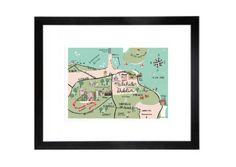 Malahide Map Archival Print Irish Design, Framed Prints, Art Prints, Fruit Art, Gouache Painting, Pigment Ink, Watercolor Paper, Giclee Print, Original Paintings