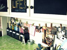 for the craft area--like the clothesline-to hold photos or notes for things I'm working on...