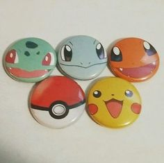 "Charmander Pikachu Bulbasaur Squirtle Pokeball Pokémon Pins 1"" pinback buttons"