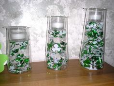 PartyLite consumer decorated her Symmetry Trio for St Patrick's Day