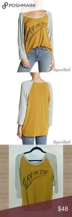 """Laundry Room NWT oversized Tee Laundry Room oversized Big Bebe Tee """"Slay or Die"""" Tag states """"One Size"""" buts fits as a oversized Med or fitted Large  NWT Tops Tees - Long Sleeve"""