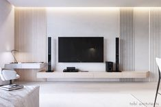 32 Inspiring Bedroom TV Wall Design Ideas - If you are like many, then you do not want to have to set up your flat screen TV on a TV stand. Getting a large enough stand for a flat-screen TV can . Cozy Living Rooms, Living Room Modern, Living Room Interior, Home Living Room, Home Interior Design, Living Room Decor, Futuristisches Design, Tv Wall Design, Design Case