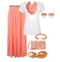 #Summer #Outfits / White top + Waist Pleated Long Salmon Skirt