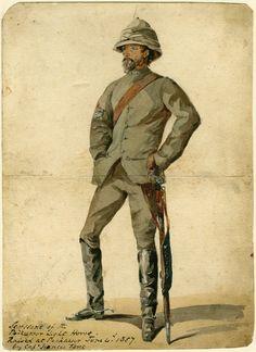 British; Peshawar Light Horse, Sergeant. Raised by Capt.Francis Fane at Peshawar on 4th June 1857