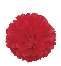 Red Fluffy Tissue Decorations - 40cm  Code: DFSFLR  This colourful red tissue decoration is the perfect accessory to your party! £1.35
