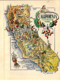 United States Map California  Book Art Print by The1957RetroStore, $35.00