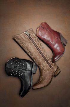 Miz Mooz 'Cozumel' Studded Short Boot, Steve Madden 'Graced' Boot, & Lucky Brand 'Ellena' Leather Bootie The middle ones are my fav! On Shoes, Me Too Shoes, Fall Winter Shoes, Fall Boots, Nordstrom Boots, Studded Shorts, Boho Boots, Miz Mooz, Cute Boots