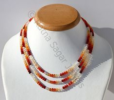 """01601 Details about  /43 Carat 16/"""" 3 to 6 mm Natural Ethiopian Welo Fire Opal Bead Necklace"""