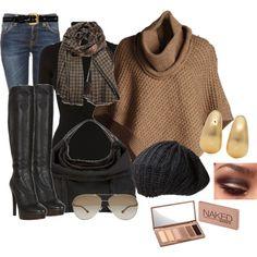 Camel poncho & black boots