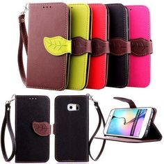 $3 Dual Color leaf Wristlet Card Flip leather case cover For Samsung Galaxy S6 Edge