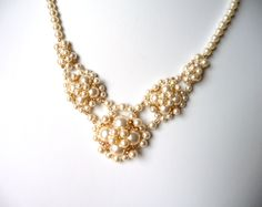 Pearl and Gold Bridal Necklace V Shaped IVORY by MelJoyCreations
