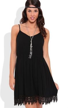 Deb Shops Slip Dress with Crochet Trim Hem $30.00