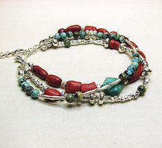 Turquoise and coral bracelet Sterling silver by ShopPretties