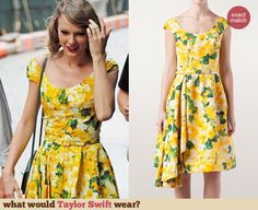 Taylor Swift's Yellow floral dress with side pleating. Outfit Details: http://wwtaylorw.com/3081