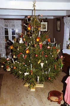 Christmas tree in Ellested Watermill at the Open Air Museum